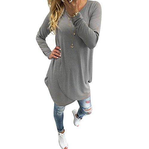 ZEARO Damen Langarmshirt Asymmetrisch T-Shirt Stretch Longshirt