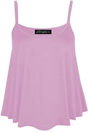 Womens Plain Cami Vest Top Ladies Camisole strappy vest top Plus Size UK 8-26