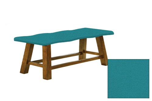 "Honey Oak 24"" Tall Counter Height Wavy Bench Featuring Your Choice of a Colored Canvas Covered Padded Seat Cushion (Turquoise)"