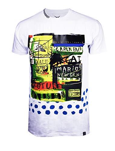 SCREENSHOTBRAND-S11906 Mens Hip-Hop Ultra Premium Tee Longline Street Graffiti Print T-Shirt-White-Small