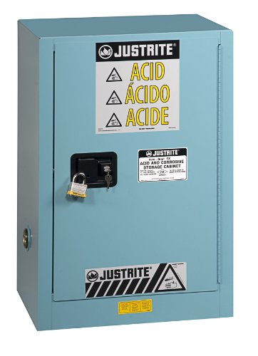 Justrite 891222 Sure-Grip EX Galvanized Steel 1 Door Self Close Compac Corrosives Safety Storage Cabinet, 12 Gallon Capacity, 23-1/4