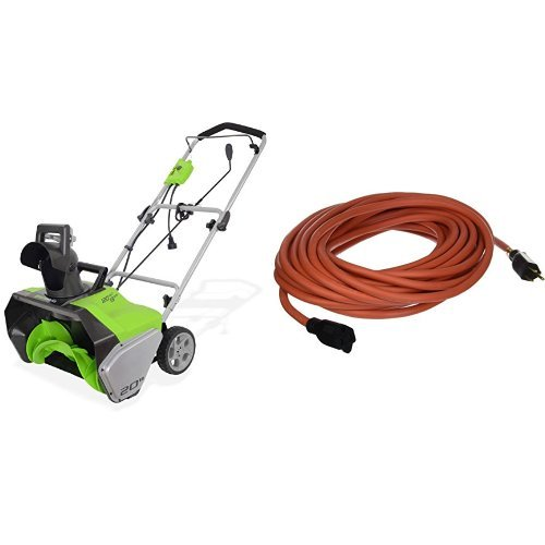 GreenWorks 2600202 13 Amp 20-Inch Corded Snow Thrower with Extension Cord by Greenworks