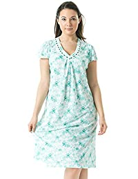 Casual Nights Women's Floral V-Neck Short Sleeve Nightgown
