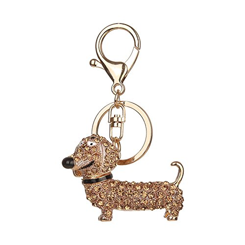 Powerfulline Women Girls Dachshund Dog Alloy Rhinestone Key Chain Bag Car Pendant Decor Keyring (Champagne)
