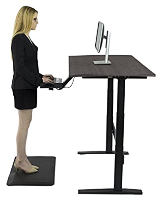 Rise Up Affordable Height Adjustable Standing Office Computer Desk BUNDLE WITH KT2 Ergonomic Keyboard Tray, Anti-Fatigue Mat (3 items)