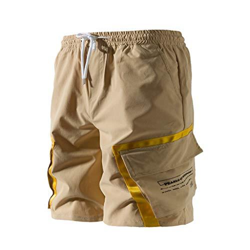 Simayixx Men's Loose Athletic Running Pants Men Beach Shorts Button-Pocket Overalls Shorts Chino Pant Summer Trousers Khaki