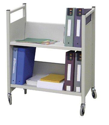 Heavy Duty 2 Tier Welded Steel Side Sloped Book & File Folder Cart by Omnimed