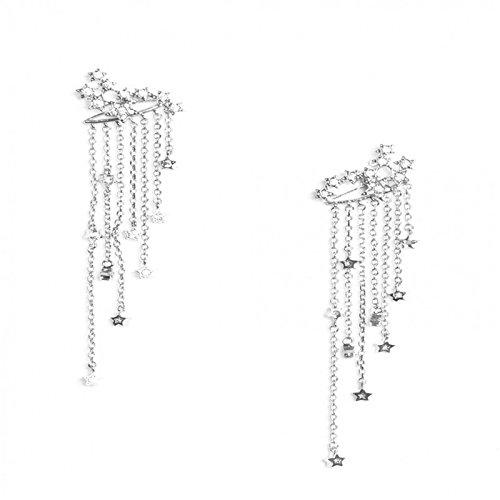 - Earrings Jewelry Vintage Long Tassels star Rhinestone Fancy Drop Hook Dangle Stud Earring Wedding Valentine's Day Gift (Silver)