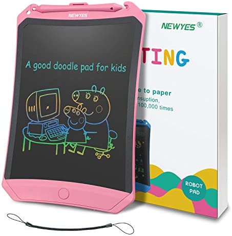 Substitutes of Magnetic Drawing Board Frog Pad with Anti Delete Switch NEWYES 8.5 Inch LCD Writing Tablet Gifts for Kids to Doodle Colorful Display Pink
