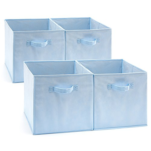 EZOWare Set of 4 Foldable Fabric Basket Bin, Collapsible Storage Cube for Nursery Toys Shelves (13 x 15 x 13 inches) (Blue)