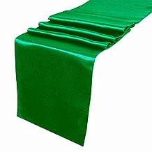 "AerWo Fashion Satin Table Runner 12"" x 108"" (inch) Wedding Decoration Supply Party Decor Emerald"