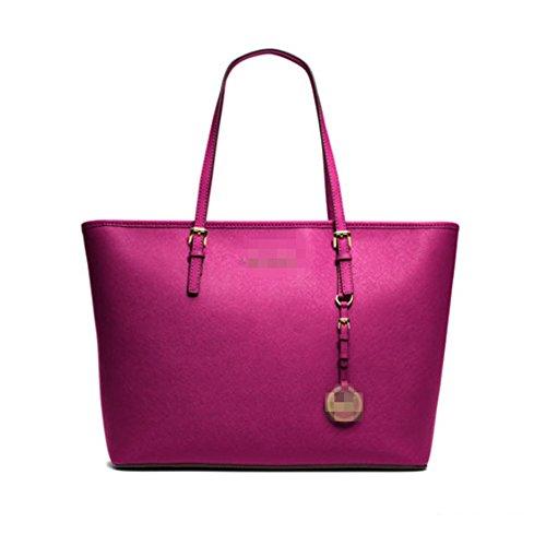Cfanny Women's Buckle Strap Charm Shopper Shoulder Tote Bag,Rose,