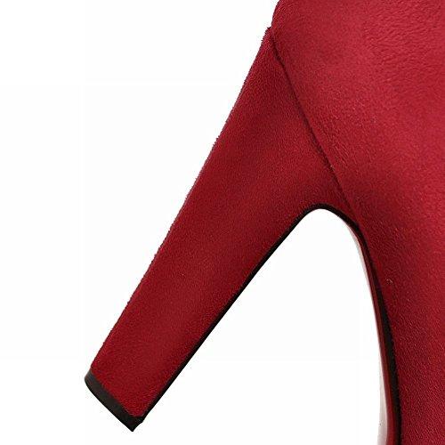 Scarpe Sexy Nubuck Donna MissSaSa Elegante Rosso Alto e col Tacco H6nq5