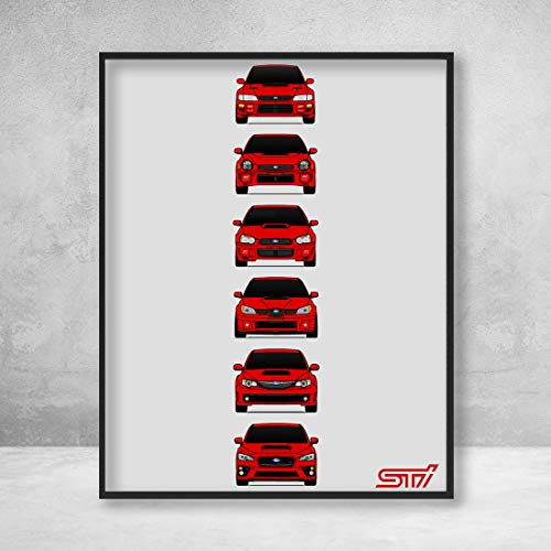 (Subaru WRX STI Poster Print Wall Art of the History and Evolution of the Subie STI Generations (Red Cars))