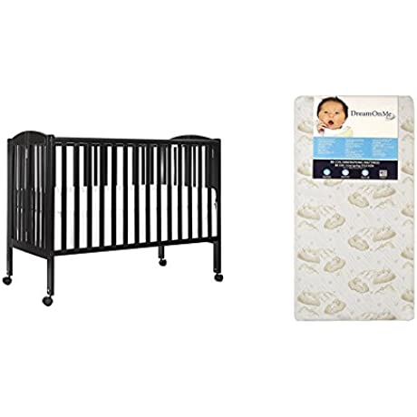 Dream On Me Full Size 2 In 1 Folding Stationary Side Crib With Dream On Me Spring Crib And Toddler Bed Mattress Twilight