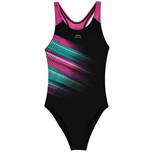 Slazenger Kids Girls Sportback Swimsuit Beachwear Black/Purple 9/10 (M)