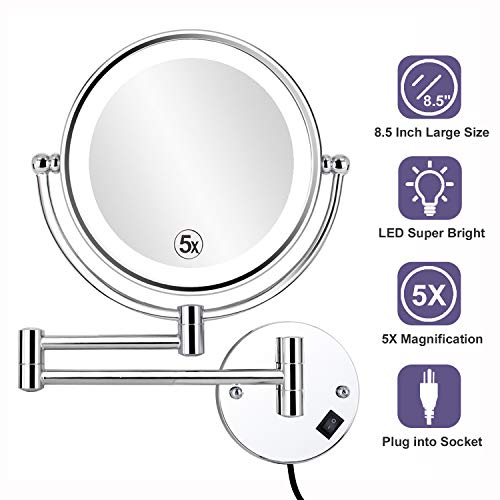 ALHAKIN 8.5 Inch LED Lighted Wall Mounted Makeup Mirror with 5X Magnification, -