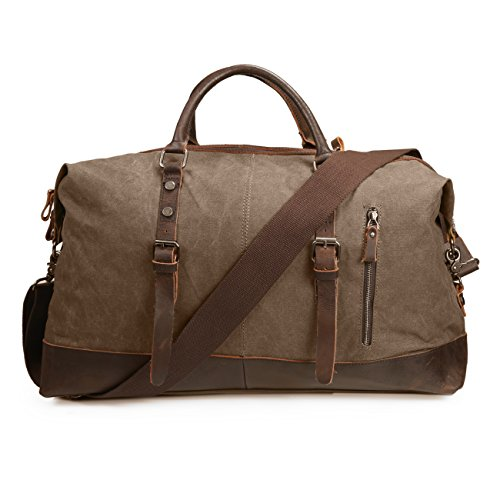 ECOSUSI Vintage Canvas Sport Tote Gym Bag Overnight Shoulder Bag Weekend Travel Duffel Bag Coffee (Bag Vertical Leather Shoulder)