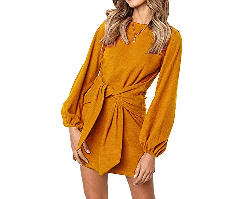 Longwu Women's Loose Casual Front Tie Long Sleeve Bandage Party Dress Ginger Yellow-L