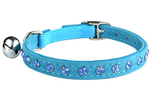 Blue Velvet Safety Elastic Belt Rhinestones Crystal Jeweled Cat Collars with Bell 8-11 Inches