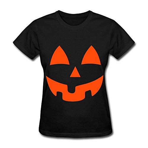 [HM Women's Tee Pumpkin Face Halloween Costume Size M Black] (Hallowe En Costumes Ideas)