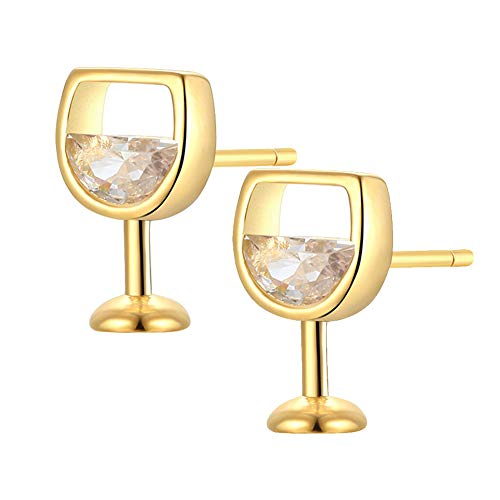 CHIXINMU Women's Earrings Hollow Wine Glass Cubic Zirconia Ear Stud Earrings Jewelry Gifts (Gold)