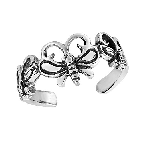 AeraVida Triple Butterfly Wrap .925 Sterling Silver Toe Ring or Pinky Ring