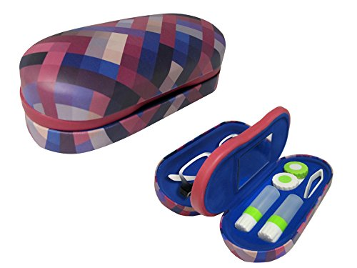 Dual Glasses and Contacts Case - Double Sided 2 in 1 Clamshell Hard Case for Eyeglasses and Contact Lenses with Mirror - Multi-Color Criss-Cross Print with Matte Finish - By OptiPlix