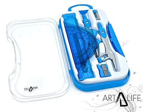 ArtLife - 10 Pcs Compass Set, Geometry Set for Students, Geometry Set for School, Divider, Set Squares, Ruler, Protractor, Compass Math, Compass and Protractor, Eraser by ArtLife (Image #1)