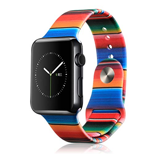 Double Side Printing Silicone Bands Compatible with Apple Watch 38mm 40mm, Soft Flexible Fadeless Pattern Printed Replacement Bands for iWatch Series 4/3/2/1 (Stripes, 38MM/40MM)