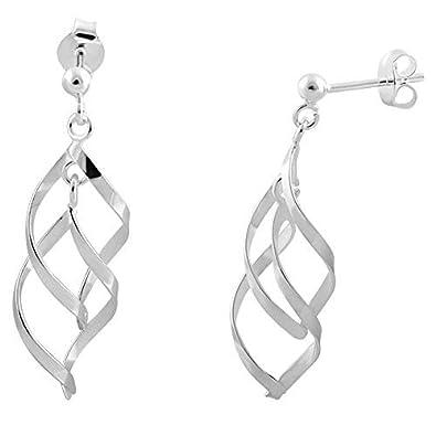 a08b9f8c5 Sterling Silver Spiral Drop-dangle Swinging Earwire Earrings (Double Drop)