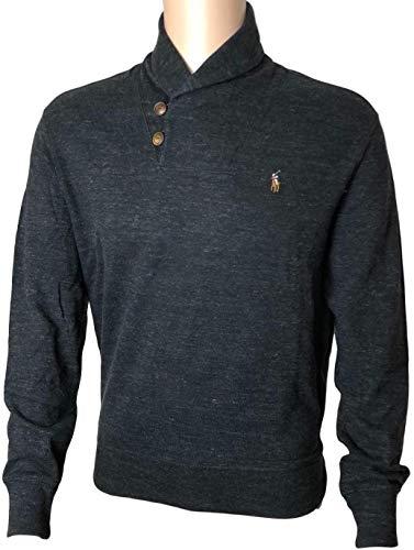 Polo Ralph Lauren Mens French Rib Shawl Neck Sweater (Large, Blackhth)