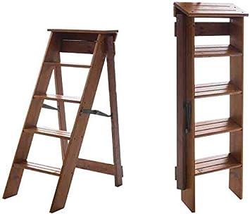 WLG Escalera con peldaños, madera maciza, multifunción, plegable, móvil, hogar, doble uso, escalera con escalones, taburete con escalera,color nogal: Amazon.es: Bricolaje y herramientas