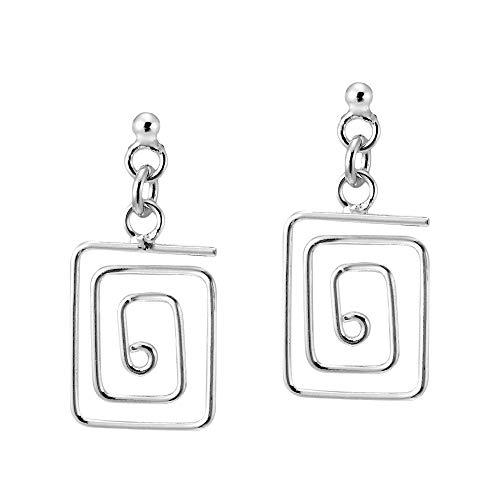 Greek Key Post Earrings - Meander Greek Key .925 Sterling Silver Post Drop Earrings