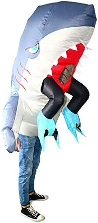 thematys Disfraces inflables de tiburón - Divertido Disfraz de Aire para Adultos 165cm-185cm Carnaval, Despedida de Soltero o Halloween