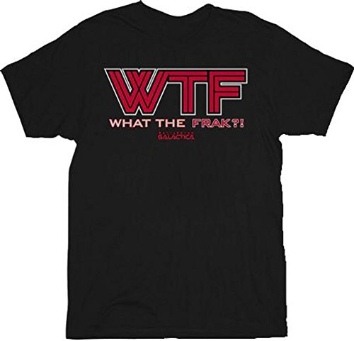 Battlestar Galactica WTF Red Logo What The Frack Adult T-Shirt Tee (XX-Large)