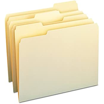 Smead File Folders, 1/3 Cut Assorted, One-Ply Top Tab, Letter, Manila, Box of 100, (10330)