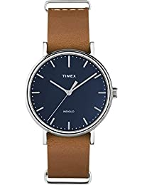 Timex Unisex TW2P98300GP Fashion Weekender Fairfield Blue Dial Tan Leather Strap 37mm