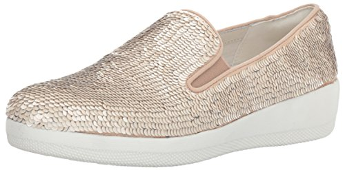 FitFlop Womens Superskate with Sequins Slip-on Loafer, Cream
