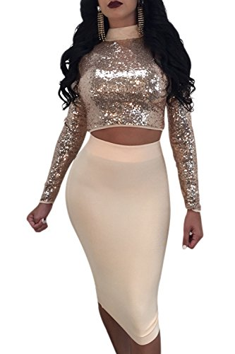 Las Mujeres Elegantes De 2 Piezas De Encaje Falda De Paillettes Crop Top Lentejuelas Vestido De Fiesta Vestido Bodycon Conjuntos golden