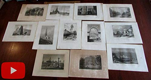 - India Hindostan collection of 12 engraved prints c.1840's Temples famous sites