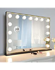 Vanity Mirror with Lights, Large Hollywood Lighted Vanity Mirror, 3 Color Modes, Touch Control, Detachable 10x Magnification, Black-Gold