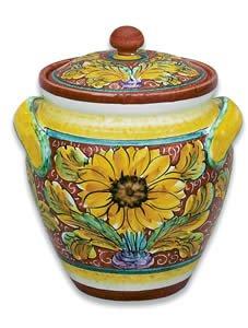 Hand Painted Girasole Biscotti Jar - Handmade in Italy