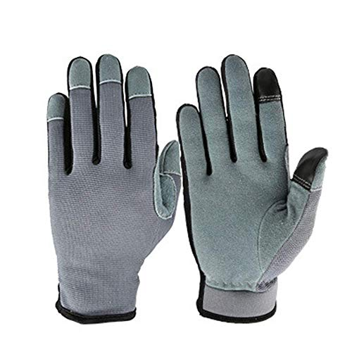 (Working Gloves Deerskin Warm Autumn Winter Outdoor Climbing Cycling Gloves On The Second Floor Wear-Resisting Touchscreen Gloves in Gardening Gardening Gloves Farm Gloves (Color : Gray, Size)