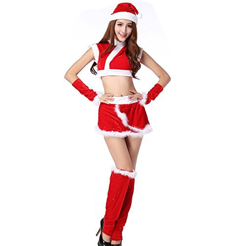 TEMPT Womens Sexy Christmas Costumes Cosplay Lingerie Dress Holiday Santa Claus Outfits (Plus Size Sexy Santa Christmas Costume)