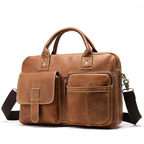 Color : Brown BVilage Retro Mens Large Capacity Genuine Leather One-Shoulder Briefcase
