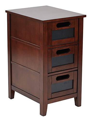Office Star Avery Chair Side Table with 3 Drawers with Chackboard Fronts, Saddle Finish