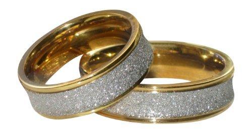 Yourjewellerybox - Anillo con detalle de anillo de matrimonio - acero inoxidable, talla 12 (