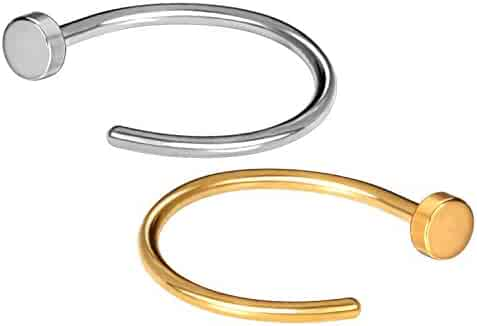 JewelrieShop 21G Nose Ring Hoop Stainless Steel Nose Piercing Body Jewelry Set