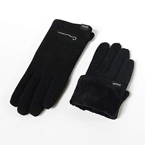 CACUSS Women's Winter Wool Knit Gloves Touchscreen Texting Finger Tips with Warm Fleece Lining (Black)